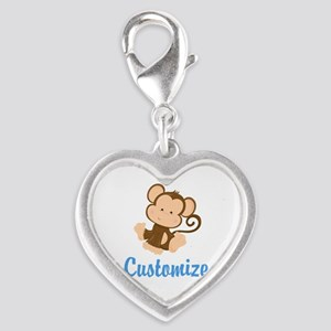 Custom Monkey Silver Heart Charm
