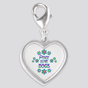 Peace Love Dogs Silver Heart Charm