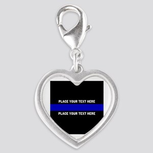 Thin Blue Line Customized Silver Heart Charm