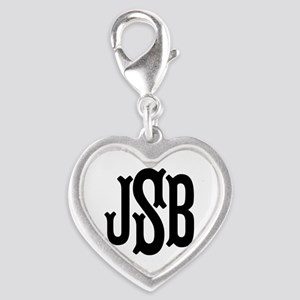 Monogram Initials Personalized Silver Heart Charm