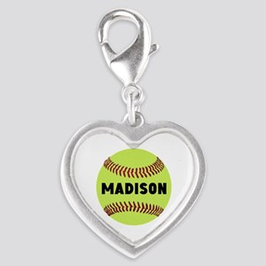 Softball Personalized Silver Heart Charm