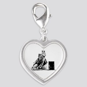 Barrel Racing Silver Heart Charm