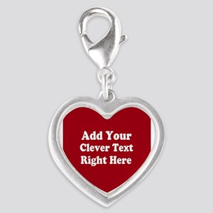Add Text Background Red White Silver Heart Charm