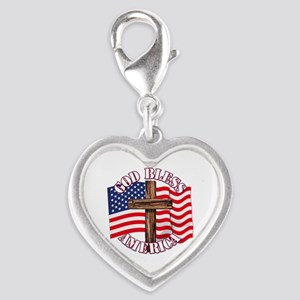 God Bless America With Usa Flag And Cross Charms