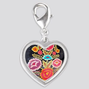 Mexican Embroidery Design Silver Heart Charm