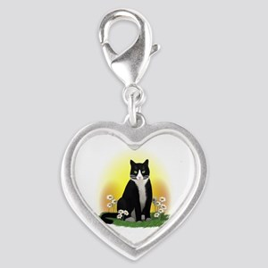 Tuxedo Cat with Daisies Silver Heart Charm