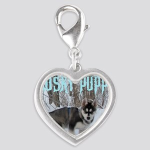 Husky Puppy Power Silver Heart Charm