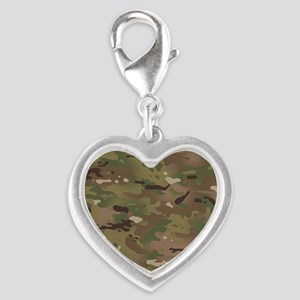 Military Camouflage Pattern Silver Heart Charm