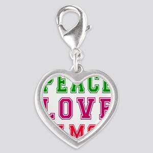 Peace Love Samoa Silver Heart Charm