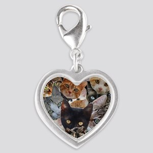 Kitty Collage Silver Heart Charm