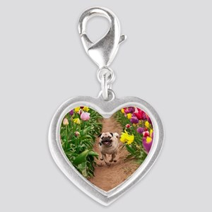 Pug in the Tulips Silver Heart Charm