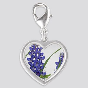 Texas bluebonnet circle charm Silver Heart Charm