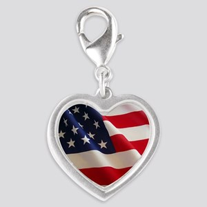 American Flag - Patriotic USA Silver Heart Charm