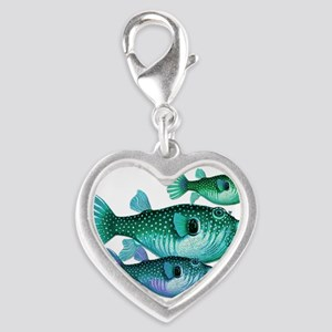 Trio of Blue Green Puffer Fish Charms
