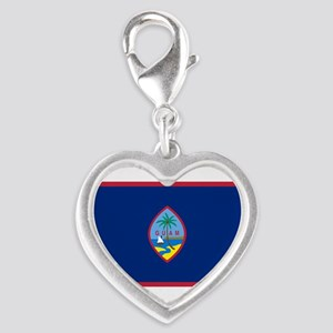 Flag of Guam Silver Heart Charm