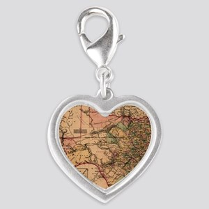 1855 Map of TX Silver Heart Charm