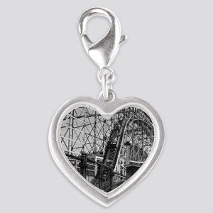 Coney Island Cyclone Roller Co Silver Heart Charm