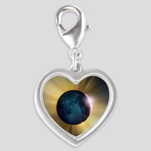 Total solar eclipse Silver Heart Charm
