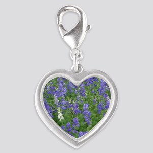 Texas Bluebonnets in Bloom Silver Heart Charm