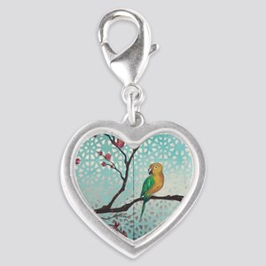 Sun Amongst the Blossoms Silver Heart Charm