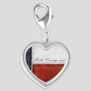 Texas Flag Silver Heart Charm