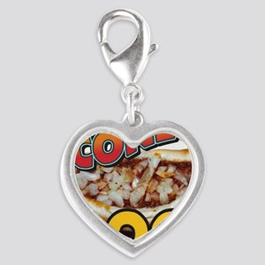 Coney Island Dog Silver Heart Charm
