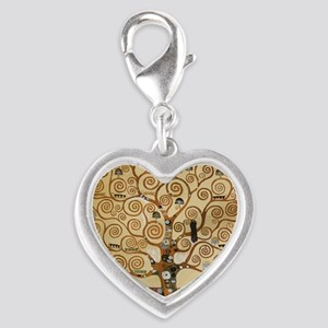 Gustav Klimt Tree Of Life Silver Heart Charm