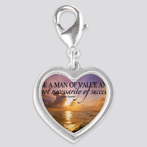 Value and Success Quote on Lar Silver Heart Charm