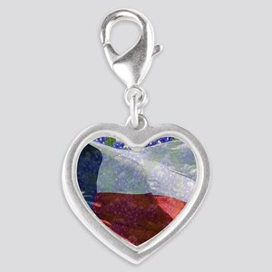 Texas flag bluebonnet card Silver Heart Charm