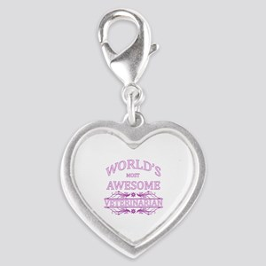 World's Most Awesome Veterinarian Silver Heart Cha