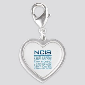 NCIS Logo & Characters Names Silver Heart Charm