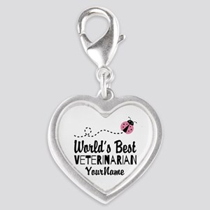 World's Best Veterinarian Silver Heart Charm