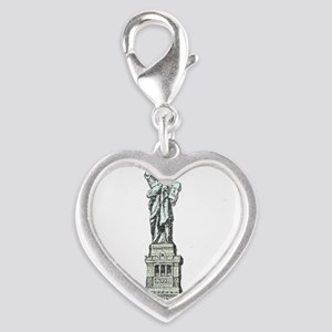 Statue of Liberty Silver Heart Charm