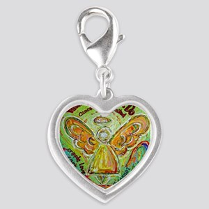 Rainbow Cancer Angel Silver Heart Charm