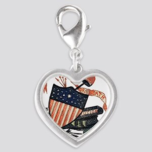 Vintage American Shield Silver Heart Charm