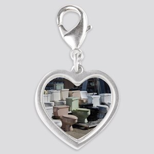 toilets at attention Silver Heart Charm