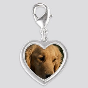 (12) golden retriever head sho Silver Heart Charm