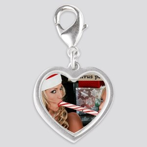 two_girls_and_candycane Silver Heart Charm