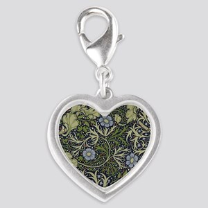 William Morris Seaweed Silver Heart Charm