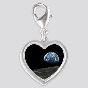 Earthrise photograph, artwork Silver Heart Charm