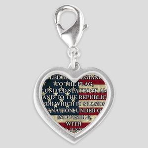 Pledge of Allegiance 3% Silver Heart Charm