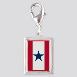 Blue Star Flag Silver Portrait Charm