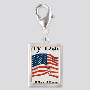 My Dad is my Hero Military Silver Portrait Charm