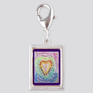 Rainbow Heart Cancer Silver Portrait Charm