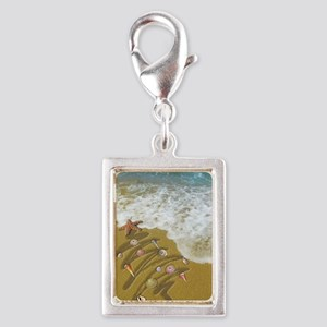 Christmas Seashells and Tree Silver Portrait Charm