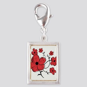 Modern Red and Black Floral Design Silver Portrait