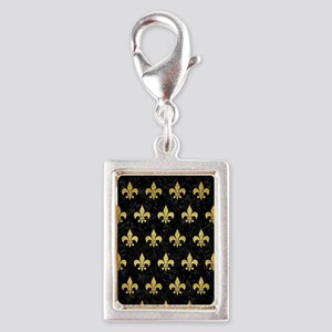ROYAL1 BLACK MARBLE & GOLD B Silver Portrait Charm