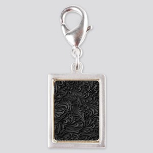 Black Flourish Silver Portrait Charm