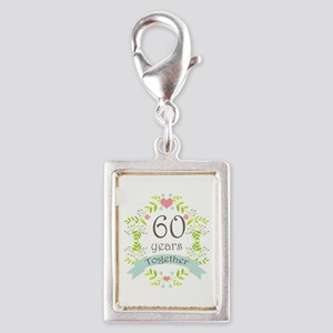 60th Anniversary flowers and Silver Portrait Charm