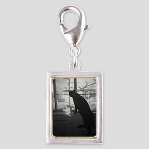 A cat & his window Silver Portrait Charm